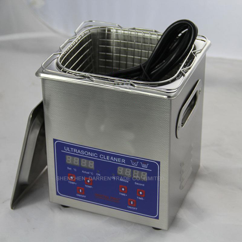 1pc High quality 110V/220V Digital Ultrasonic Cleaner 2L Cleaning machine Clean basket Heater Timer Cleaner Machine 15l stainless steel digital ultrasonic cleaner with timer and heater including washing basket