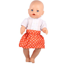 Free shipping hot white ruffle skirt red dots dress Popular 43cm baby born zapf doll clothes