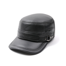 HARPPIHOP Genuine Leather Flat Peak military Cap Hip Hop Hats mens caps winter warm01