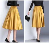 2019 nueva Pu acordeón Falda plisada otoño e invierno nuevo estilo falda de cuero de cintura alta Faldas Largas Elegantes envío gratis