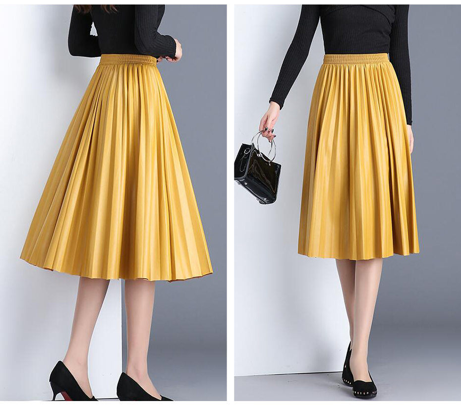 2020 New Pu Accordion Pleated Skirt Autumn And Winter New Style Leather Skirt High Waist Faldas Largas Elegantes Free Shipping