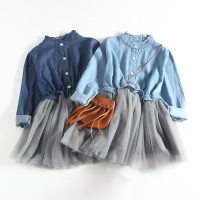 New 2017 Spring Autumn Baby Girl Dress Denim Mesh Patchwork Princess Girl Dress Long Sleeve Toddler