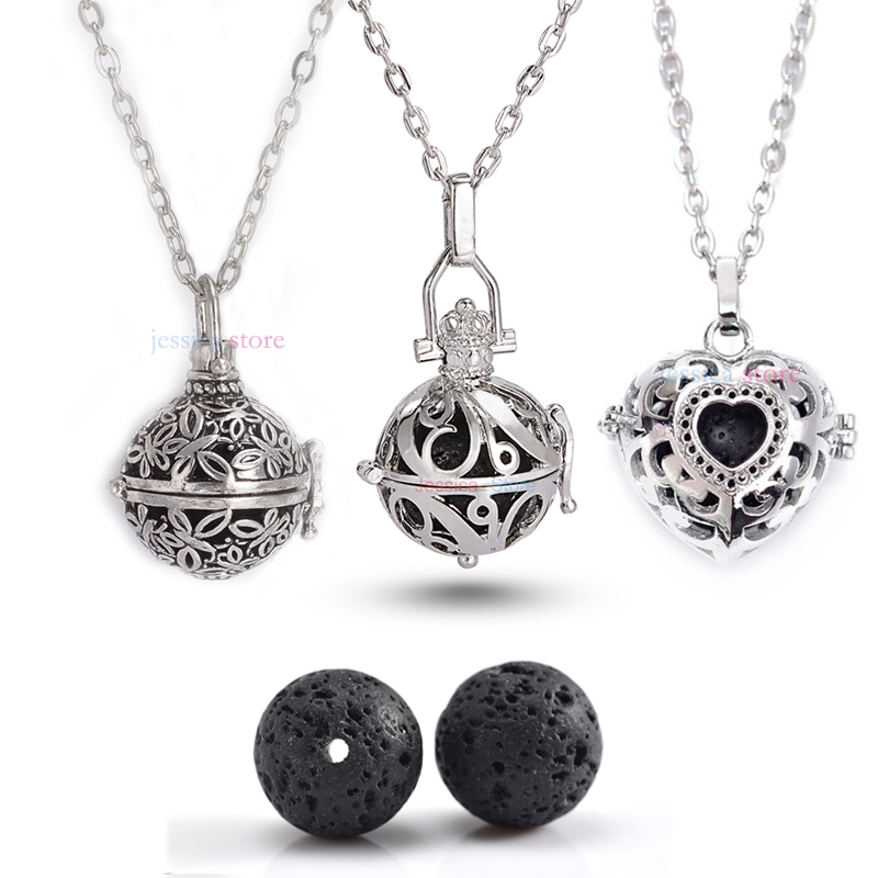 1Pc Antique Silver 16mm Lava Stone Aromatherapy Pendant Essential Oil Diffuse Necklace For Jewelry