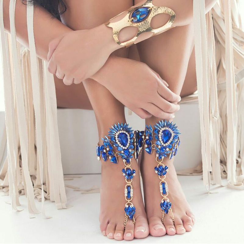 Dvacaman Best Selling Design Body Chain Crystal Jewelry Barefoot Sandals Fashion Hand Chain Jewelry Colorful Anklet 8591