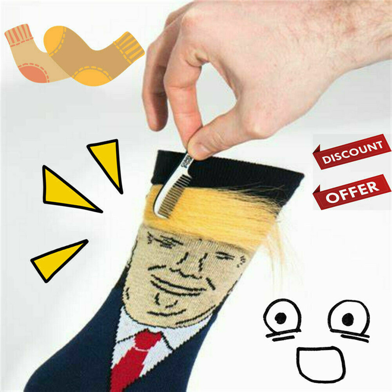1 Pair President Donald Trump Socks With 3D Fake Hair Crew Socks