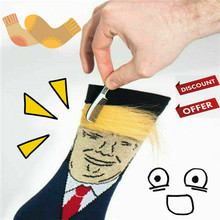 1 Pair President Donald Trump Socks with 3D Fake Hair Crew S