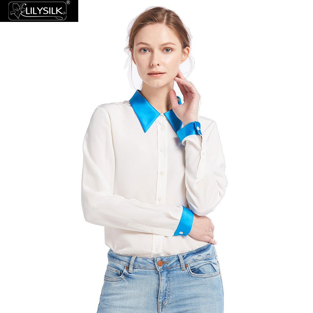 LILYSILK 18mm Relaxed Color Block Silk font b Shirts b font 100 charmeuse silk collar cuff
