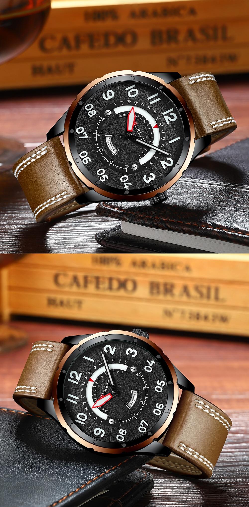 HTB11Ghtarr1gK0jSZR0q6zP8XXaH CURREN Date Mens Watches Luxury Sport Watch