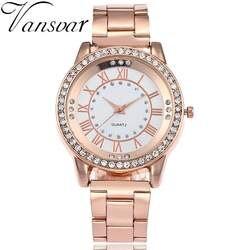 Бренд vansvar розовое золото часы Роскошные женское платье со стразами кварцевые часы повседневное для женщин нержавеющая сталь наручные