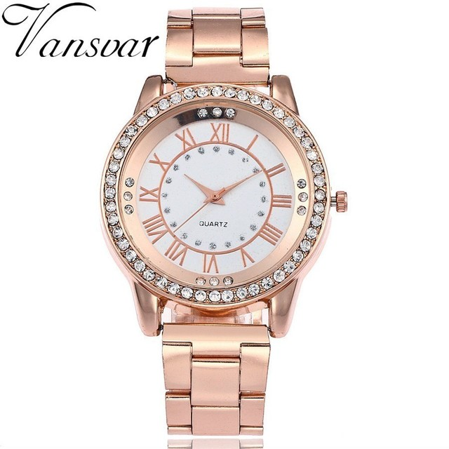 Vansvar Brand Rose Gold Watch Luxury Women Dress Rhinestone Quartz Watch Casual