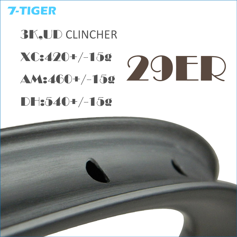 7-TIGER Bike Carbon 29er Tubular Rims For MTB Bike Cycling and Racing MTB 29 Wheel Clincher Wheels rim factory direct mountain bike clincher wheelset 29 inch 27 5er carbon mtb wheels 29er 650b carbon mtb wheels tubeless rims