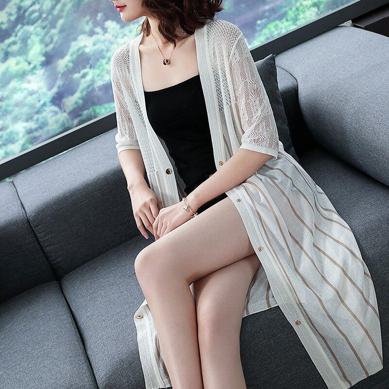 Women summer spring autumn striped loose blouse shirt thin hollow sunscreen female 1/2 sleeve sweater cardigan coat 0524-95