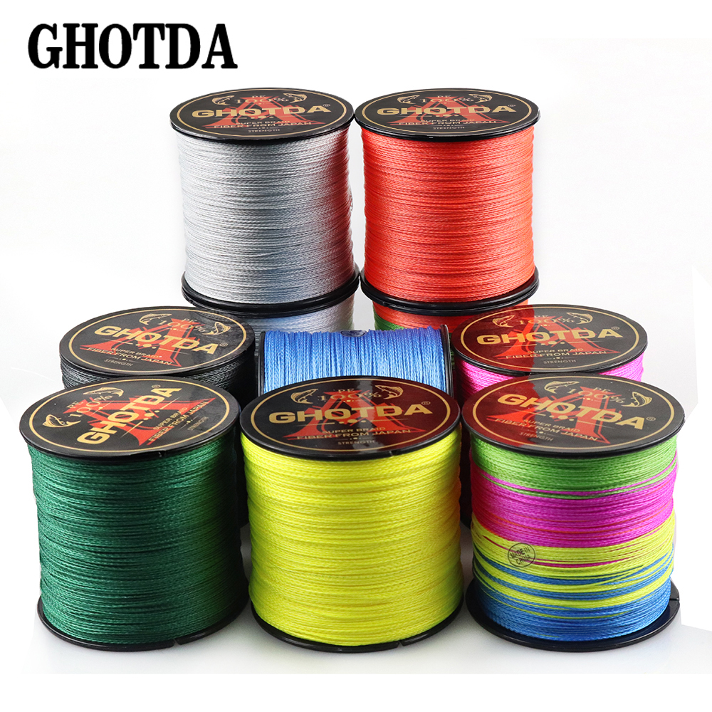 GHOTDA 300M 500M PE Fishing Line 4 Strands Braided Fishing Line 10 12 18 28 35 40 50 60 80 100 120LB Multifilament Fishing Line