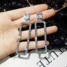 Korean 2019 New Fashion Rhinestone Rectangle Long Earrings Temperament Personality Women Exaggerated Jewelry Cubic Zirconia Gift