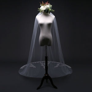 Image 5 - New Arrival 3 Meter Cheap Wedding Veil Long Lace Appliques Veu de noiva longo com pente Sexy wedding veil with comb 2020