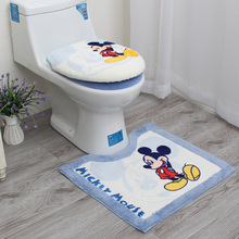 Free shipping Cartoon bathroom thickening plush toilet three piece set toilet seat cover potty pad toilet set cover mat недорого