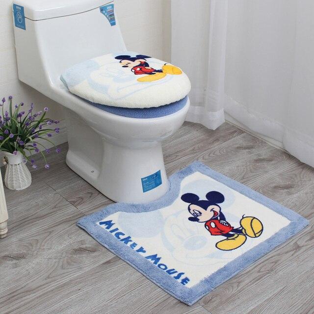 3Pcs/Set Cartoon Bathroom Toilet Sets Cover Thickened Warm Plush Toilet Seat Cover Bath Mat Washable O Ring Toilet Seat Cushion