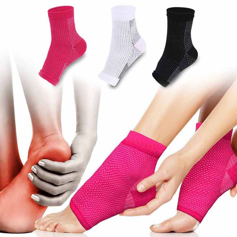 1pair Foot Compression Sleeve Anti Plantar Support Ankle Angel Socks Sport Protector Basketball Soccer Ankle Support Relief Sock
