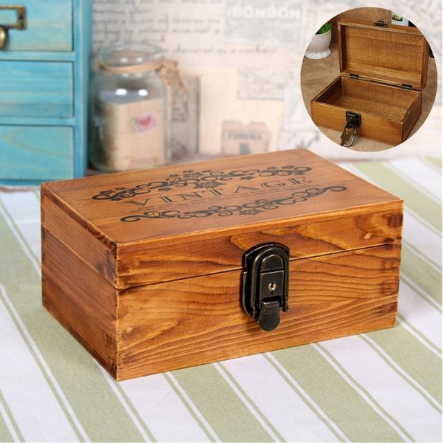 Retro Antique Vintage Wool Key Locker Jewelry Wooden Storage Box Organizer With 2 Keys Decorative Gift Boxes Case 22*14*10cm
