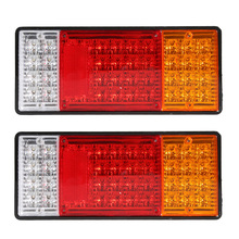 1Pair 44LED Car Rear Tail Lights Red Yellow White 12V 24V Truck Lorry Stop Reverse Lamp Turn Signal Light Styling