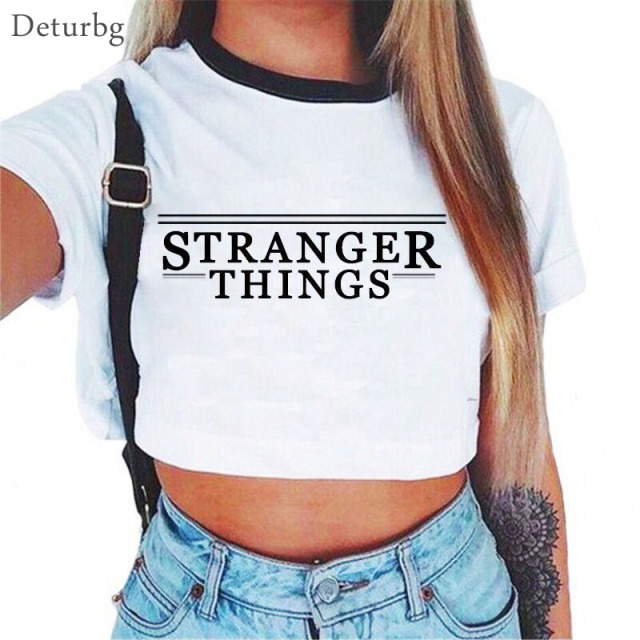 Stranger Things Cropped Tops Shirt T-shirt Cotton T Shirt Women TShirt Short Sleeve Casual White T-Shirts Tee 2018 Summer SH301