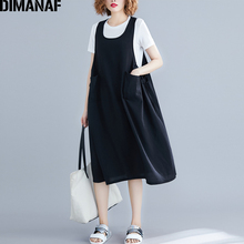 DIMANAF Plus Size Women Dress Summer Sundress Big Cotton Sleeveless Female Lady Vestido Loose Casual Solid Black 2019