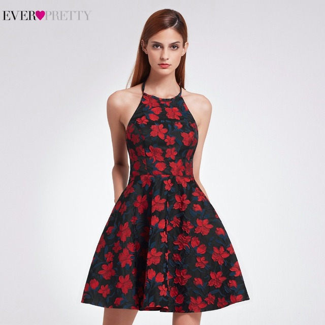 3db7fd6f3aa 2018 New Sexy Halter Neck Fit Homecoming Dresses Ever Pretty EP05945 Short  A Line Women s Retro Floral Print Flare Party Dresses