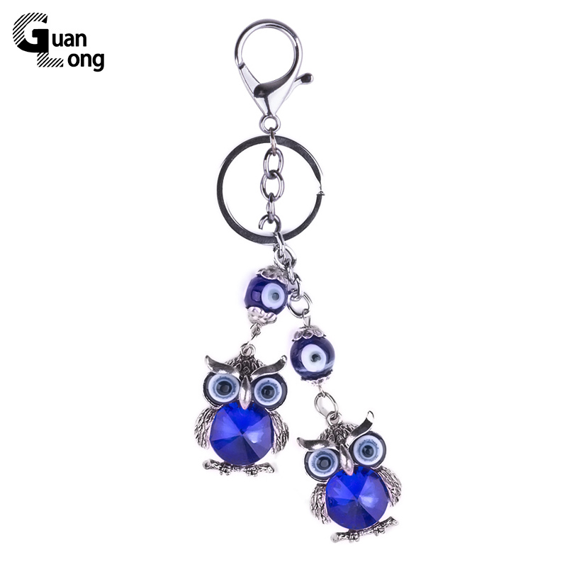 GuanLong Vintage Turkish Blue Eye Owl Charm Keychain For Russian Women Antique Silver Animal Key Chain