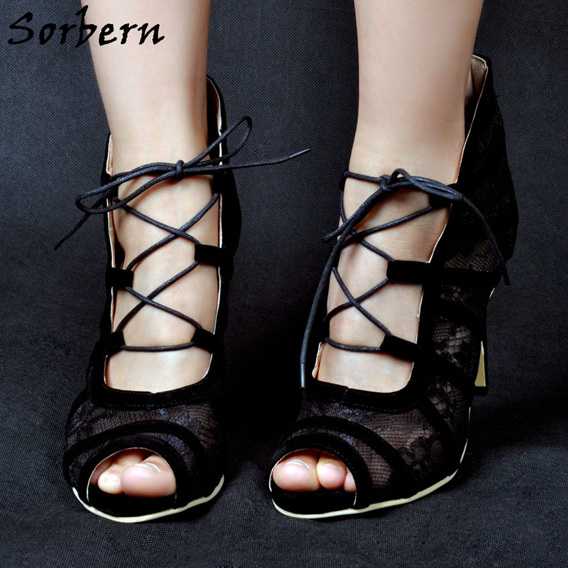 Sorbern Black Lace Bridal Shoes Sexy Designer Shoes Women Luxury 2017  Escarpins Femme Pumps Black Heels Womens Plus Size 14 d0a74042dee9