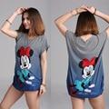 Estilo de verano 2016 Nuevo Más El Tamaño de Las Señoras Rayó Mickey Corto de manga Larga camiseta de Las Mujeres Camisetas Mujer Tops T-shirt YB461