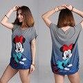 Estilo do verão 2016 New Plus Size Senhoras Listrado Mickey Curto camisa Das Mulheres T de manga Longa Camisetas Mujer Tops T Camisa YB461