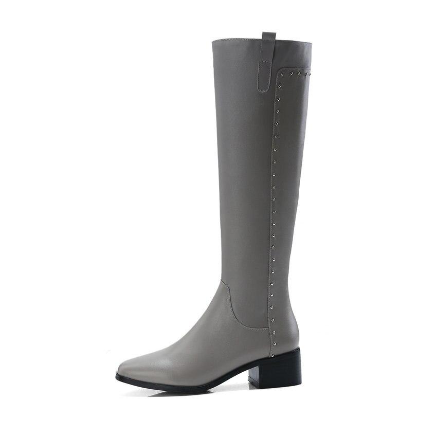 Cuadrado Alto Rodilla Elegante Nikove gris Alta Tacón 34 Balck Tamaño Moda Mujeres Zipper Botas negro De 2019 Invierno 40 Beige PqwAEqz