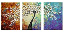3 Panels Hand Painted Oil Painting Knife Flower CanvasPaintings for Living room Wall Pictures Stretched and Framed Ready to Hang