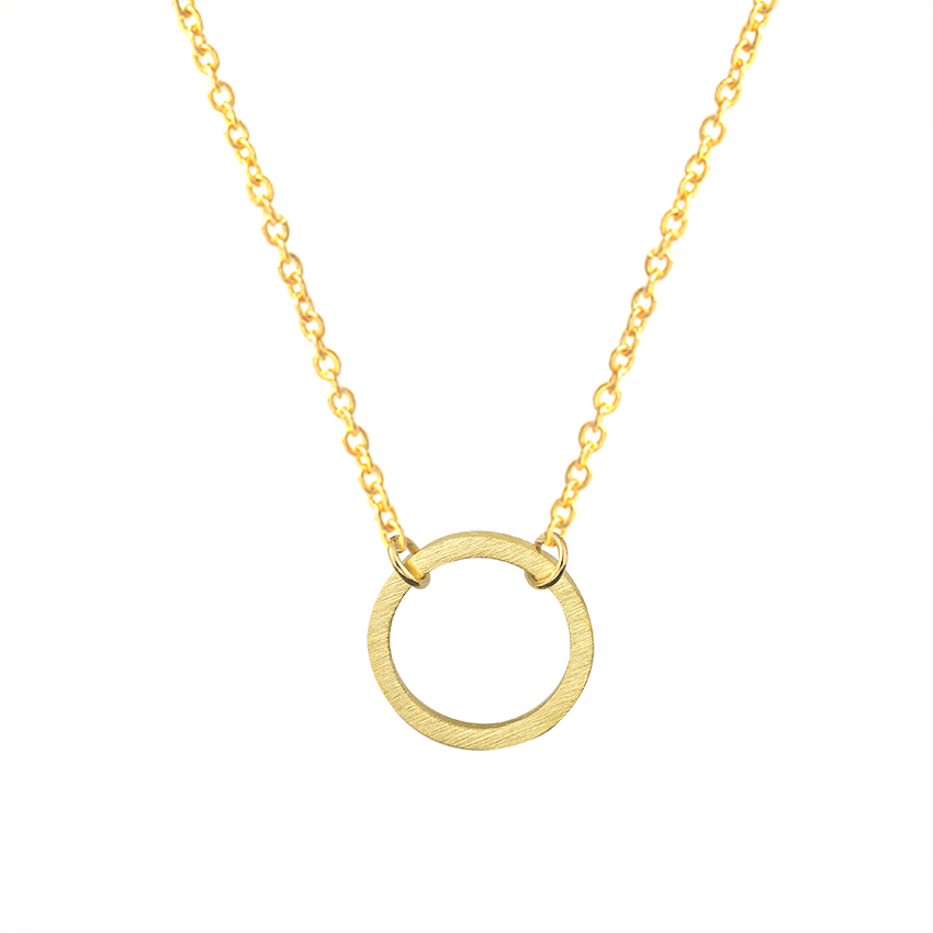 Vintage Necklace Women Stainless Steel Gold Chain Geometric Round Jewelry Gift