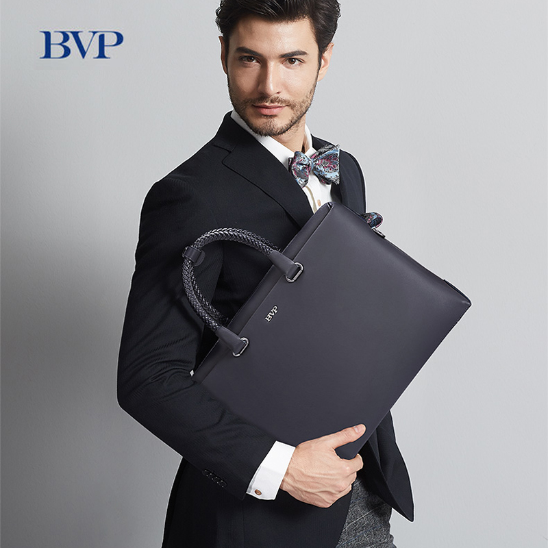 BVP High Quality Men Genuine Leather Business Briefcase Hand Woven Belt High-grade Reticule Cow Leather Solid 14