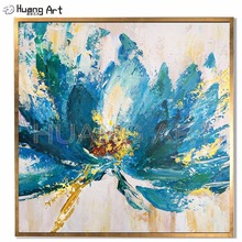 Original Art Hand-painted Blue Flower Decoration Oil Painting on Canvas for Decor Modern Abstract Knife Big Wall