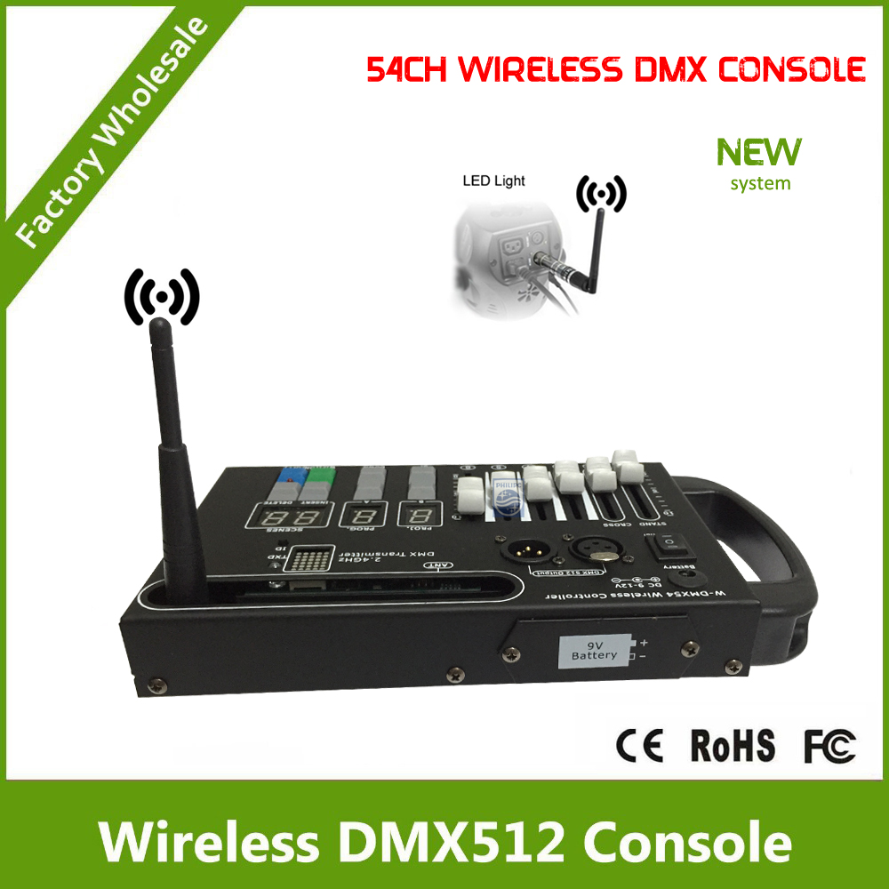DHL Free Shipping 54CH wireless controller with wireless dmx transmitter with 9V battery powered or 12V DC dhl free shipping dmx wireless module dmx wireless pcb
