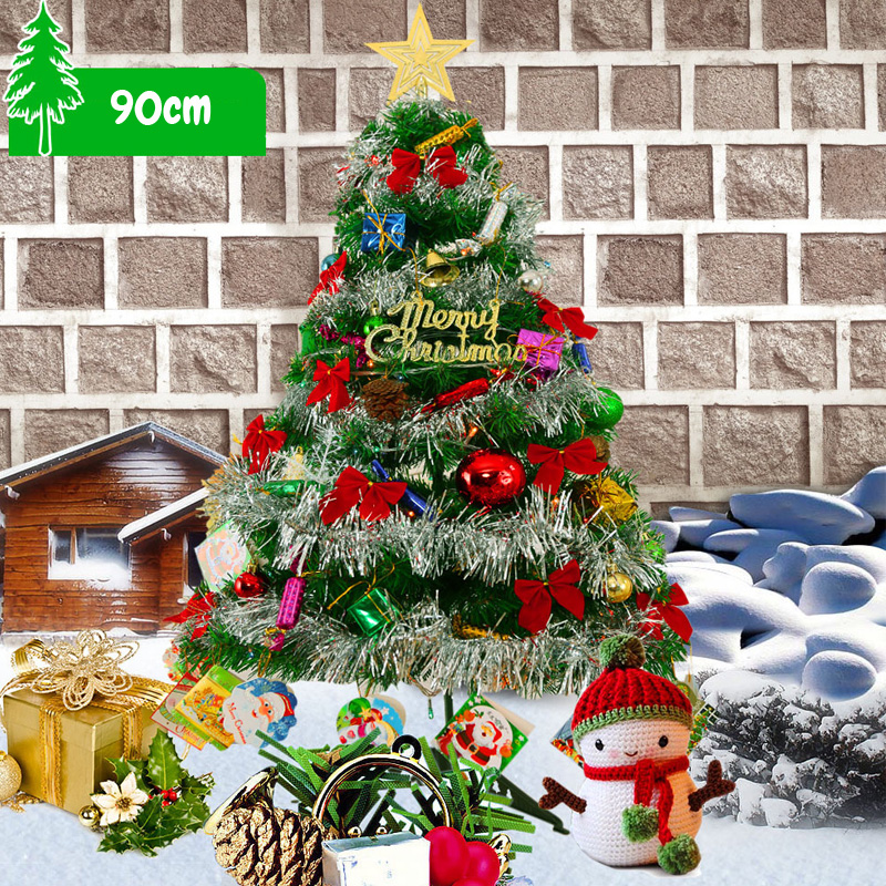 Pvc Christmas Trees.Us 30 49 39 Off Colorful 90cm Christmas Tree Lighting Pvc Santa Claus Decorated Hanging Ornaments Party Xmas Tree Celebrate Supplies With All In
