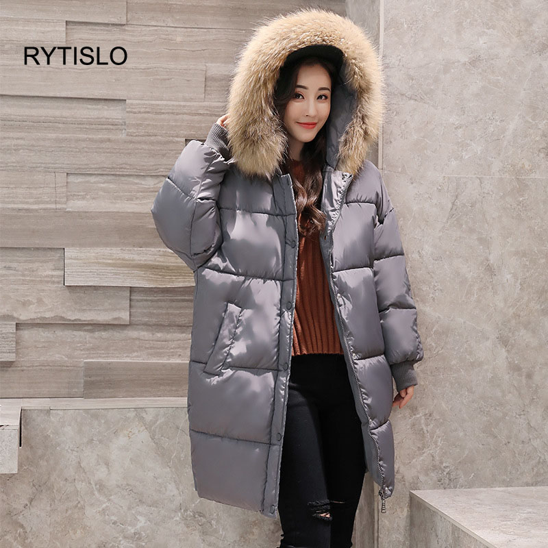 RYTISLO Warm Fur Hooded Winter Coat Women Long Cotton Clothes Thick Cotton Jacket Loose Style Parkas Female Coats Windproof 2017 winter classic fashion fur hoodie coat jacket women thick warm long sleeve cotton coats student medium long loose overcoat