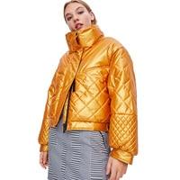 2019 Winter Glossy Yellow Down Parka women's Ribbons Solid Coat Women Winter Women Jacket large size Winter Warm Thick Parka