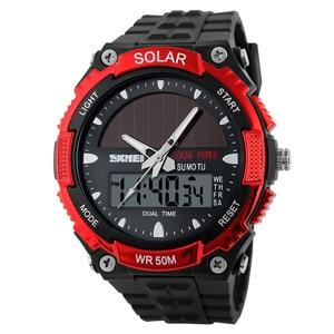 Image 5 - SKMEI SOLAR POWER Männer Sport Uhren LED Digital Quarz Uhr 5ATM Wasserdichte Outdoor Kleid Solar Uhren Militär Uhr Solar