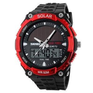 Image 5 - SKMEI SOLAR POWER Men Sports Watches LED Digital Quartz Watch 5ATM Waterproof Outdoor Dress Solar Watches Military Watch Solar