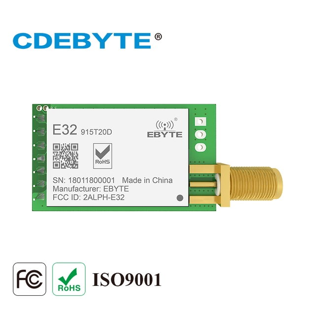 E32-915T20D Lora Dài Phạm Vi UART SX1276 915 mhz 100 mW SMA Antenna Iốt uhf Thu Phát Không Dây Transmitter Receiver Mô-đun
