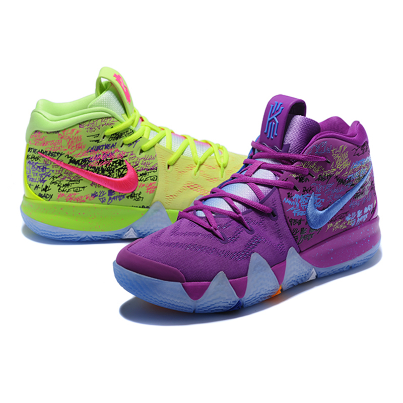 innovative design 562d8 33b2c US $148.49 31% OFF|Nike Kyrie 4 Irving 4th Generasi Confetti Sepatu Basket  Ungu, penyerapan Shock Tahan Aus Sampul AJ1691 900 di Basketball Shoes dari  ...