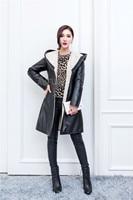 Winter Sheep Leather Jacket Women Hoody Genuine Leather Coat Black Big Hood Lamb Fur Lining Buttons