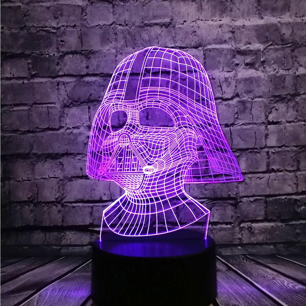NUEVO Star Wars Darth Vader Dark Warrior 3D Night light USB LED - Luces nocturnas - foto 4