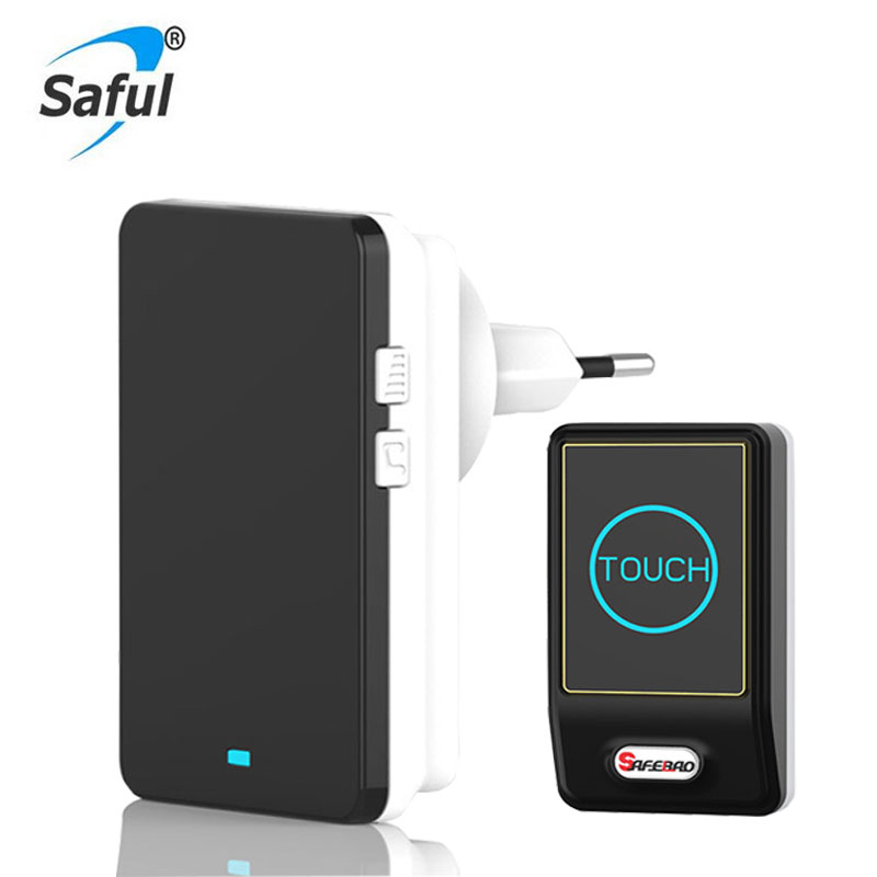 Saful Plug-in EU US UK AU Wireless Door Bell Waterproof EU Plug touch button 36 Chimes 1 Ourdoor Transmitter + 1 Indoor Receiver touch doorbell with eu us plug in wireless waterproof door bell touch button 28 chimes 1 ourdoor transmitter 2 indoor receiver
