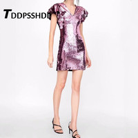 Sequins Layer Ruffles Sleeve Pink Bodycon Women Dress V Neck 2019 New Design Night Party Female Dresses