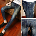 New 2017 Spring Summer causal teenager Design Skinny Jeans Men Grey Solid Pencil Pants Stretch Leg Bottom biker jeans Ripped