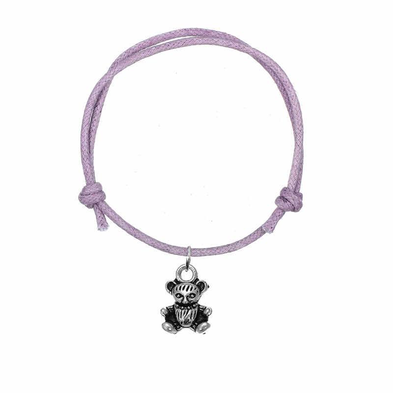 Dawapara חמוד דוב סגסוגת תליון קסם צמיד בעבודת יד מתכוונן קוריאני שרשרת חוט שעווה צמיד עבור בנות תכשיטים מתנה